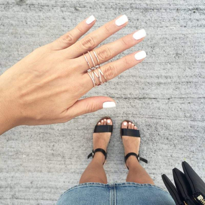 White Nails and Dainty Rings